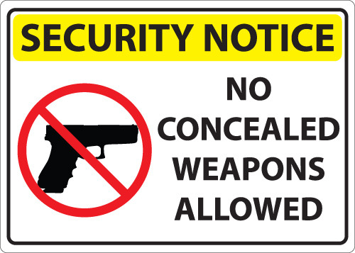 Security Notice, No Concealed Weapons Allowed