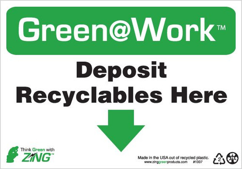Deposit Recyclables Here, Down Arrow