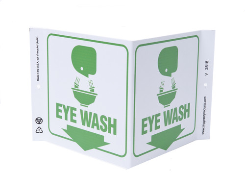 ZING 2518 Eco Safety V Sign, Eye Wash, 7Hx12Wx5D, Recycled Plastic