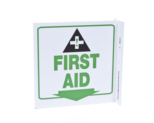 ZING 2521 Eco Safety L Sign, First Aid, 7Hx2.5Wx7D, Recycled Plastic