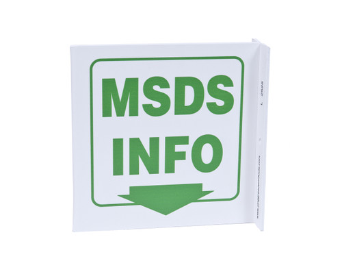 ZING 2525 Eco Safety L Sign, MSDS Info., 7Hx2.5Wx7D, Recycled Plastic