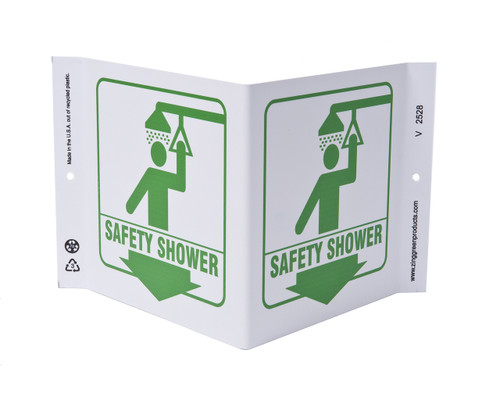 ZING 2528 Eco Safety V Sign, Safety Shower, 7Hx12Wx5D, Recycled Plastic
