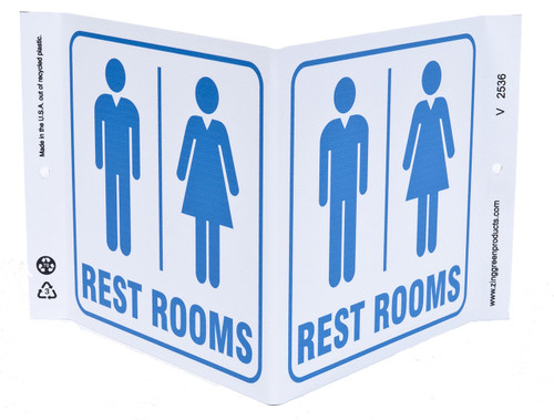 ZING 2536 Eco Public Facility V Sign, Rest Rooms, 7Hx12Wx5D, Recycled Plastic