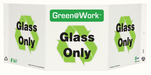 Green At Work TriView Sign, 7.5X20