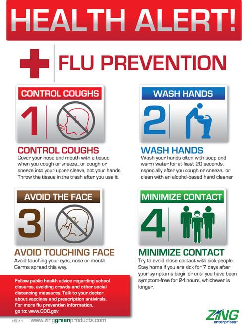 ZING 5011 Safety Eco Health Poster, Health Alert Flu Prevention, 22Hx16W