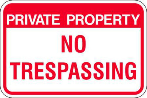 Private Property No Trespassing Parking Sign