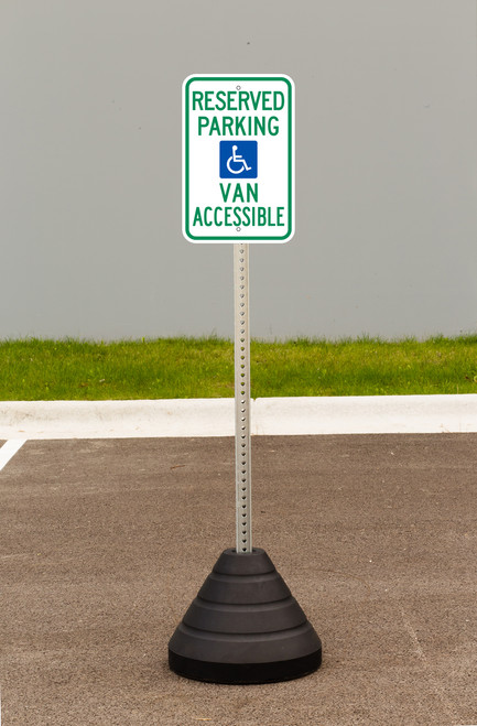 """Zing """"Handicapped Reserved Parking, Van Accessible"""" Sign Kit Bundle, with Base and Post"""