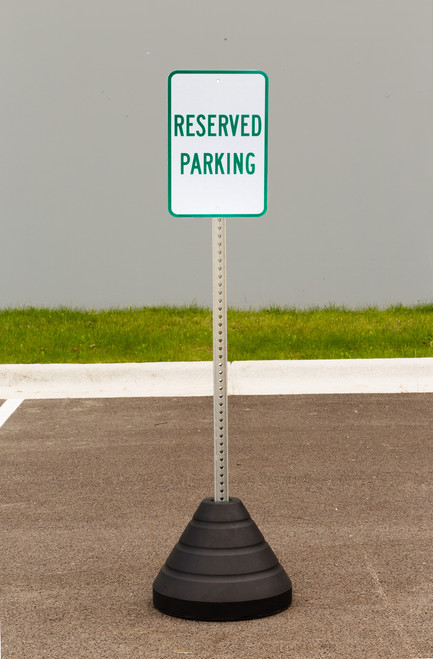 """Zing """"Reserved Parking"""" Sign Kit Bundle, with Base and Post"""