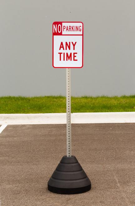 """Zing """"No Parking Any Time"""" Sign Kit Bundle, with Base and Post"""