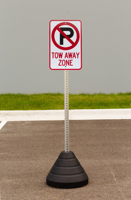 """Zing """"No Parking, Tow Away Zone"""" Sign Kit Bundle, with Base and Post"""
