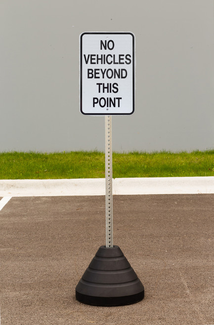 "Zing ""No Vehicles Beyond This Point"" Sign Kit Bundle, with Base and Post"