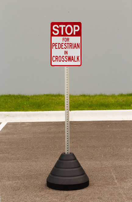 "Zing ""Stop For Pedestrian In Crosswalk"" Sign Kit Bundle, with Base and Post"