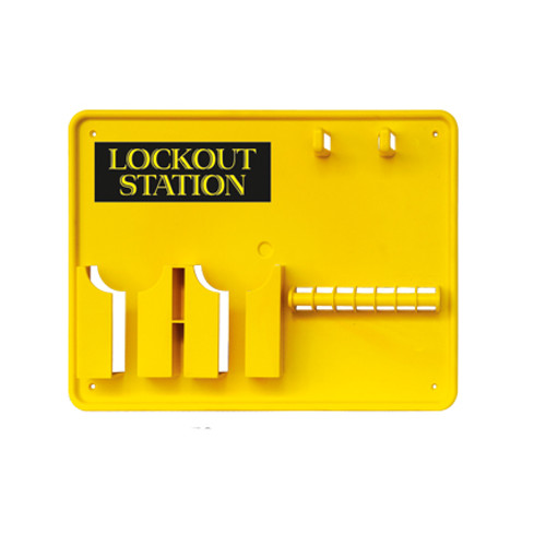 Lockout Station, Yellow Plastic, 7 Lock Capacity