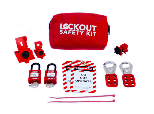 Lockout Tagout Kit, Red Fabric with Belt Loops, Contains 2 Locks and Circuit Breaker Lockouts