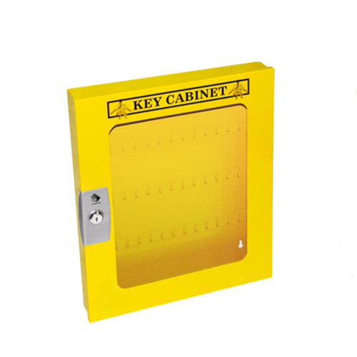Lockout Cabinet, Yellow Steel, 60 Lock Capacity