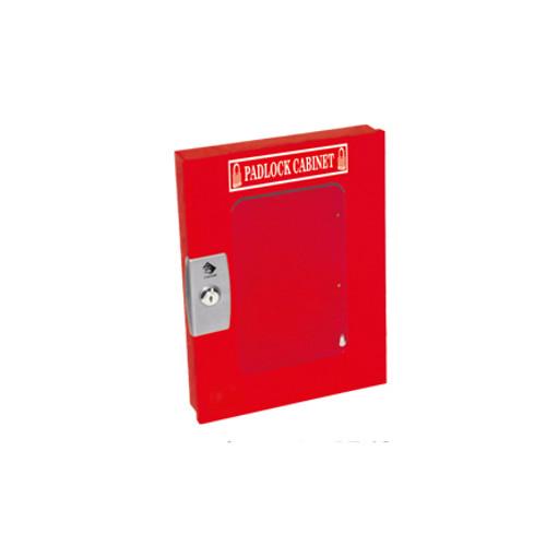 Padlock Cabinet, Red Steel, 19 Padlock Capacity