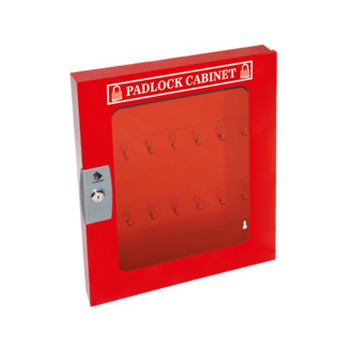 Padlock Cabinet, Red Steel, 41 Padlock Capacity