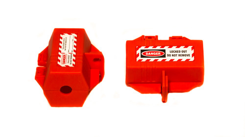 Plug Lockout, Red, Small, 4-Hole