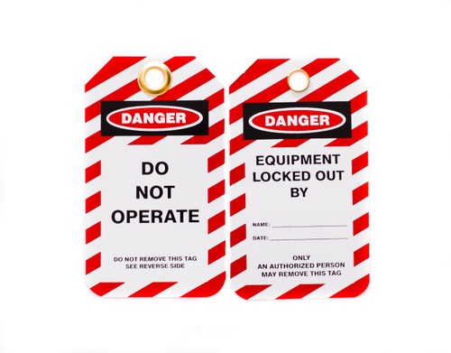 Lockout Tags, Do Not Operate, Plastic w/Brass Grommet - Red-White Striped, 10/Pk
