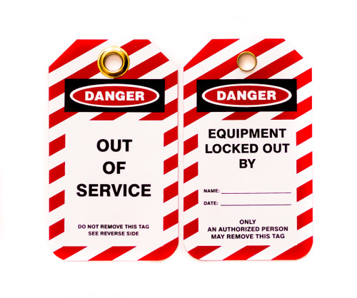 Lockout Tags, Out of Service, Plastic w/Brass Grommet - Red-White Striped , 10/Pk