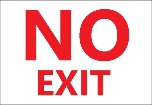 Sign, No Exit, Adhesive Label, 2/pk