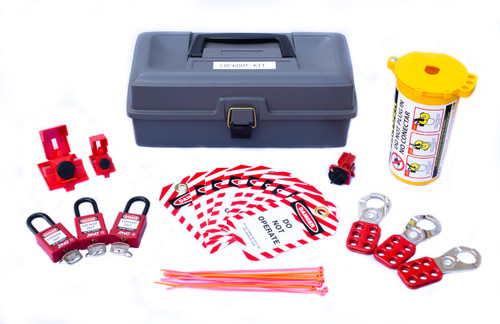 Lockout Tagout Kit, Grey Toolbox with locks and plug lockout device
