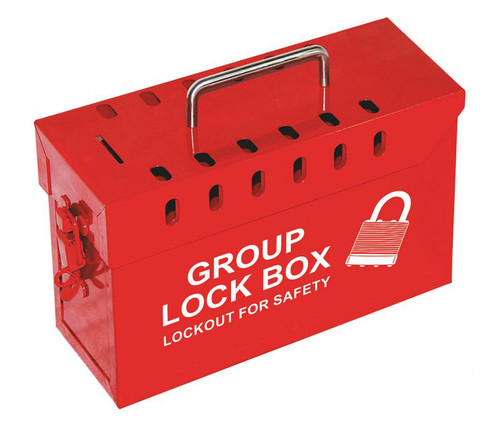 Group Lockout Box, Red Steel, 12 Lock Capacity