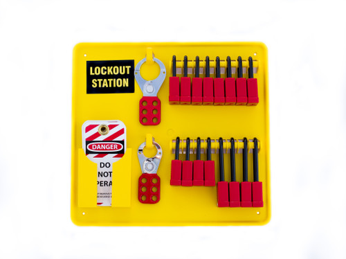 Mini Lockout Station, Yellow Plastic, 16 Locks, Hasps, and Tags