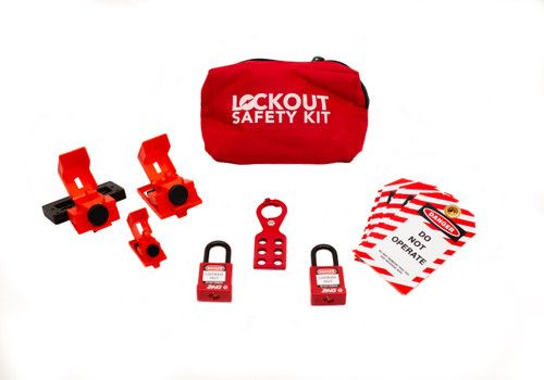 Lockout Safety Kit with 2 locks, red fabric pouch