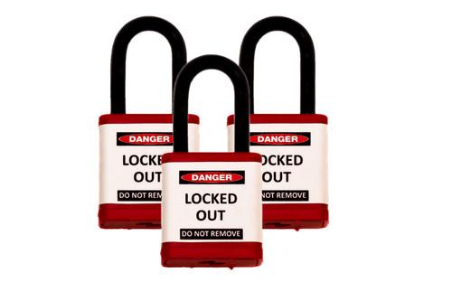 Lockout Padlock, hardened steel shackle, set of 3 or 6