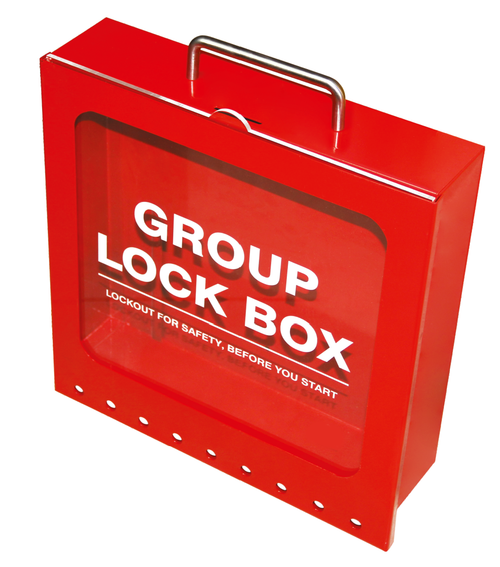 Steel Group Lockout Box, Red, 9 Lock Capacity
