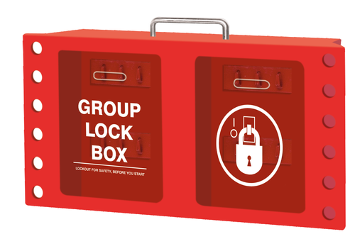 Wall-mount Group Lockout Box, Red, 12 Lock Capacity