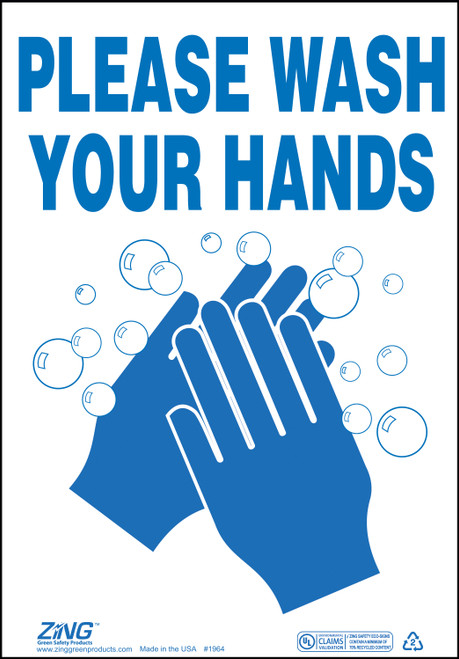 Please Wash Hands Sign, Available in Different Colors and Materials