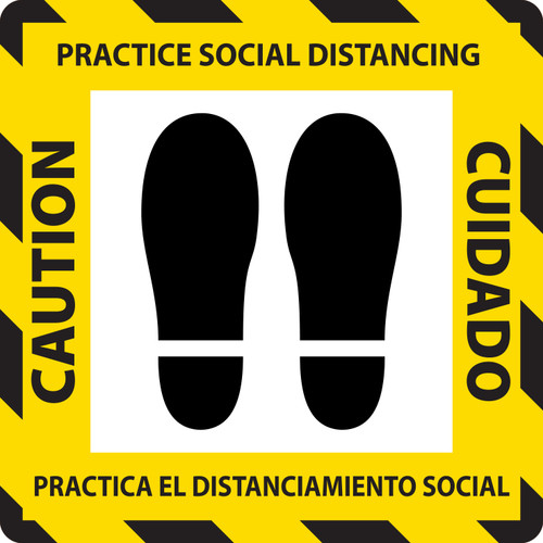 COVID-19 Practice Social Distancing Adhesive Floor Sign, Carpet Application