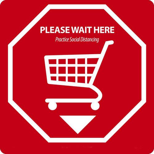 "Social Distancing Floor Sign, Please Wait Here, Shopping Cart, 12"" x 12"", 10/pk"