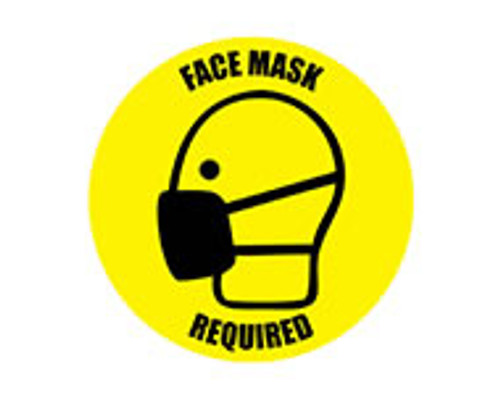 "Social Distancing Floor Sign, Face Mask Required, 12"" x 12"""