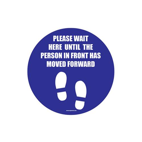 "Social Distancing Floor Sign, Please Wait Here, 12"" x 12"""