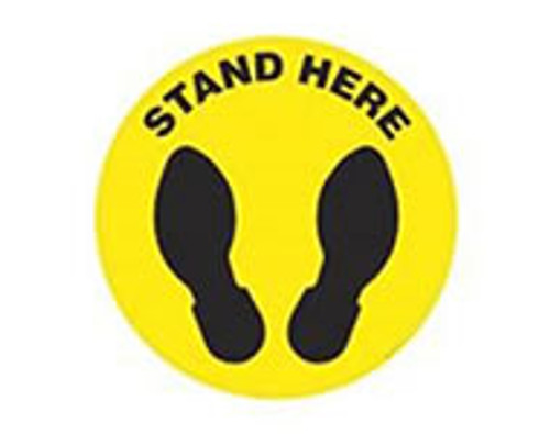 """Social Distancing Floor Sign, Stand Here, 12"""" x 12"""""""