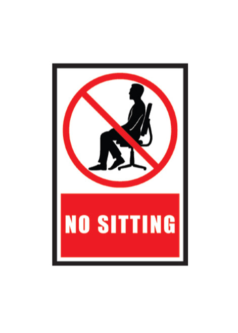 """Adhesive Seating or Table Sign, No Sitting,  12"""" x 9"""""""