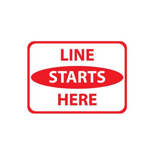"""Floor Sign, Line Starts Here,  9"""" x 12"""""""