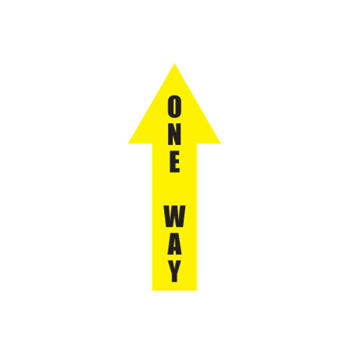 "Arrow Floor Sign, One Way, 4"" x 12"""