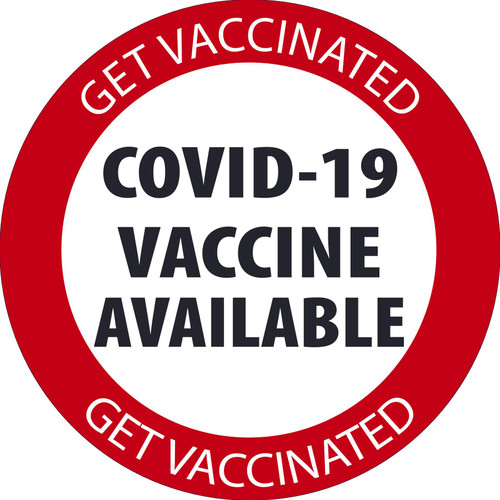 "Facility Label, Covid-19 Vaccinations Available, 6"" x 6"", Pressure-sensitive Adhesive, 5/pack"