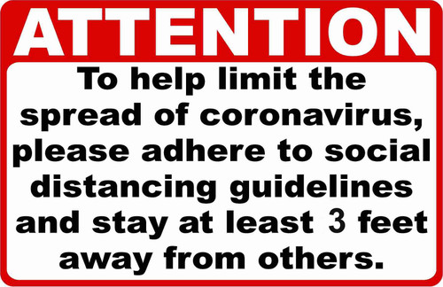 """Safety Sign, Attention Follow Social Distance Guidelines 3 Feet, 10"""" x 14"""" Recycled Plastic"""