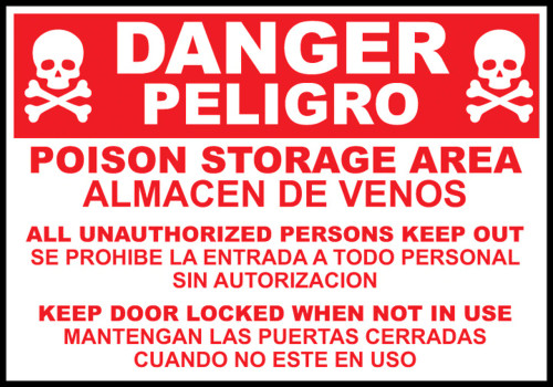 "Zing Bilingual Agriculture Sign, Danger Poison Storage Area, 10""H x 14""W, Adhesive"