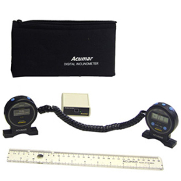 Acumar Dual Inclinometer Combo- Combination of Dual Inclinometer, Wireless Computer Interface, as well as Ruler Attachment