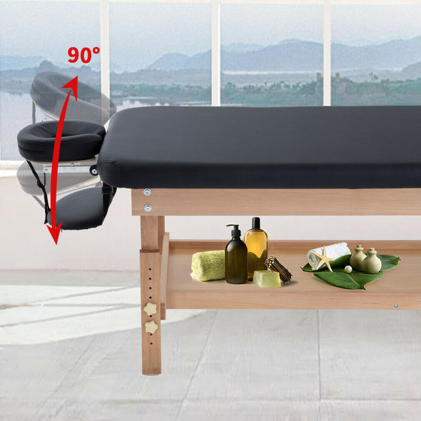 Stationary Massage Table w/ Tilt Back & Adjustable Height