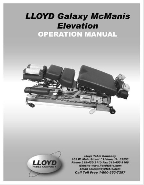 Lloyd Galaxy McManis Elevation Operation Manual - PDF Download