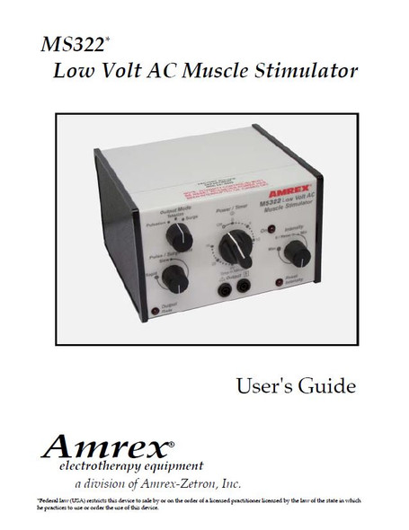 Amrex MS322 Low Volt AC Muscle Stimulator User Manual - PDF Download