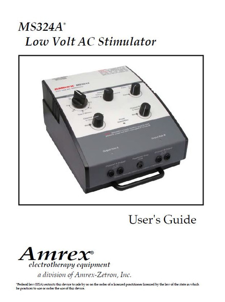 Amrex MS324A Low Volt AC Muscle Stimulator User Manual - PDF Download