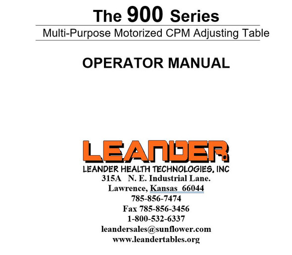Leander 900 Series Operator Manual - PDF Download